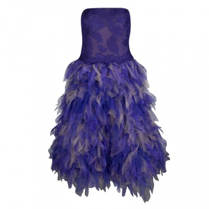 Tadashi Shoji Purple and Begie Tulle Embroidered Faux Feather Strapless Dress M -