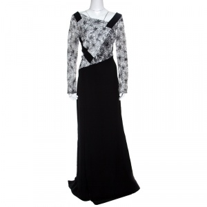 Tadashi Shoji Monochrome Floral Embroidered Marissa Gown L -