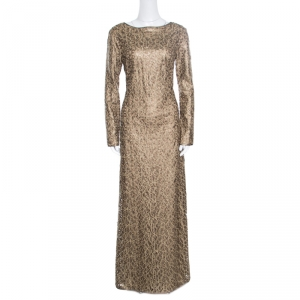 Tadashi Shoji Gold Laser Cut Embroidered Leatherette Long Sleeve Boat Neck Gown M used