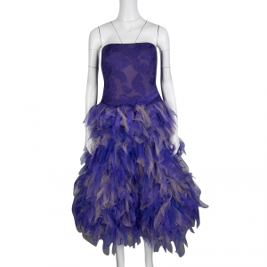 Tadashi Shoji Purple and Begie Tulle Embroidered Faux Feather Strapless Dress L -