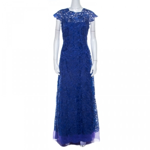 Tadashi Shoji Royal Blue Lace Cap Sleeve Milien Evening Dress M
