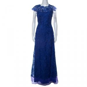 Tadashi Shoji Royal Blue Lace Cap Sleeve Milien Evening Gown M