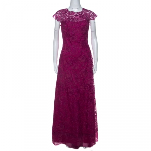 Tadashi Shoji Grape Purple Lace Cap Sleeve Milien Evening Dress M