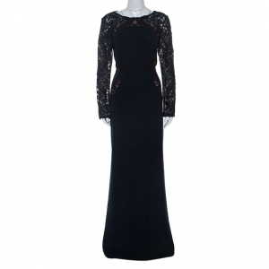 Tadashi Shoji Navy Blue Lace Detail Long Sleeve Kinglet Gown L