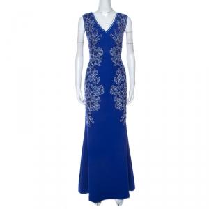 Tadashi Shoji Blue Embroidered Applique V-Neck Matelasse Gown S