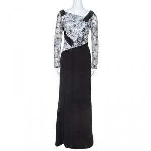 Tadashi Shoji Monochrome Lace Bodice Marissa Gown M