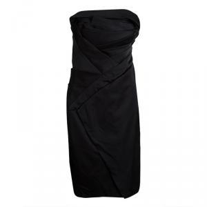 Tadashi Shoji Black Silk Asymmetric Pleat Detail Strapless Dress M - used