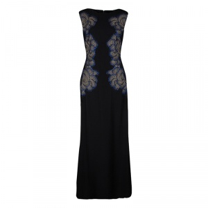 Tadashi Shoji Black Lace Applique Side Panel Detail Embellished Sleeveless Gown S - used