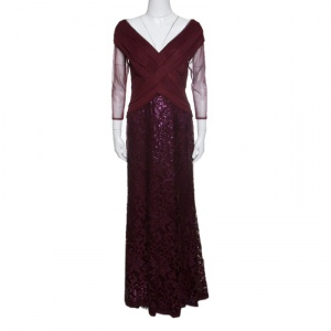 Tadashi Shoji Burgundy Tulle Woven Bodice Sequined Gown S - used