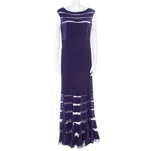 Tadashi Shoji Purple Sheer Panel Insert Sleeveless Gown L used