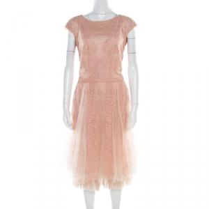 Tadashi Shoji Peach Floral Lace Overlay Sleeveless Layered Tulle Dress M - used