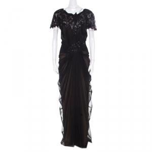 Tadashi Shoji Black Sequin Embellished Cap Sleeve Pegged Evening Gown XXL used