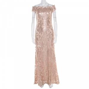 Tadashi Shoji Blush Pink Sequined Off Shoulder Evening Gown S used