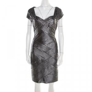 Tadashi Shoji Metallic Pintucked Pleat Detail Embellished Dress M used
