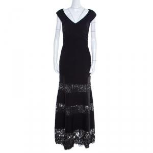 Tadashi Shoji Black Pintuck Detail Floral Lace Insert Barberton Gown XS used
