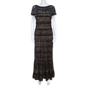 Tadashi Shoji Black Lace Paneled Overlay Sheer Yoke Gown M - used