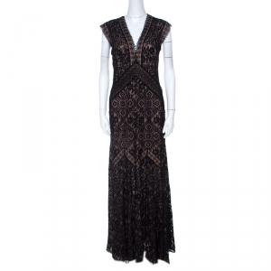 Tadashi Shoji Black Lace Overlay V Neck Evening Gown M - used