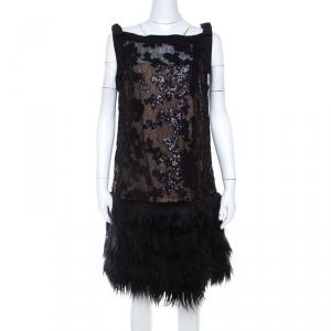 Tadashi Shoji Black Sequined Drop Waist Feather Dress L - used
