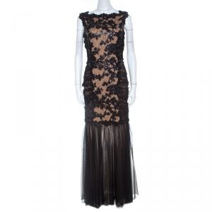Tadashi Shoji Black Lace and Tulle Floral Sequin Embellished Gown M used