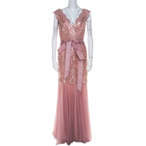 Tadashi Shoji Dusty Rose Sequin Embellished Scalloped Lace Detail Tulle Gown M used