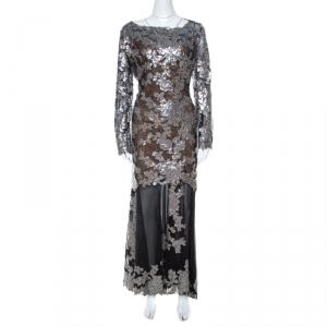 Tadashi Shoji Black Sequin Embellished Lace Evening Gown XL - used