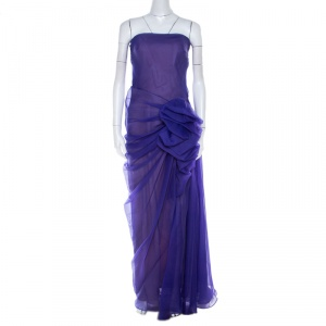 Tadashi Shoji Purple Tulle Ruched Bow Detail Strapless Cocktail Dress M - used