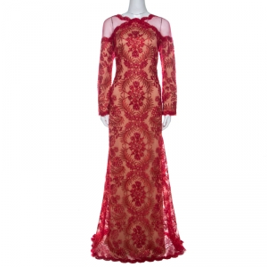 Tadashi Shoji Red Metallic Cord Embroidered Cold Shoulder Illusion Inset Tulle Gown L used