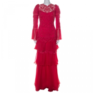 Tadashi Shoji Pink Chiffon & Lace Tiered Moreau Gown M - used