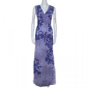 Tadashi Shoji Purple Lace Sleeveless Emma Gown L used