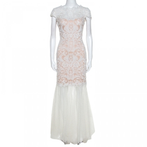 Tadashi Shoji White Crochet and Tulle Fishtail Gown M - used