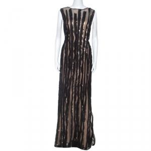 Tadashi Shoji Black Mesh Sequinned Sleeveless Gown L used