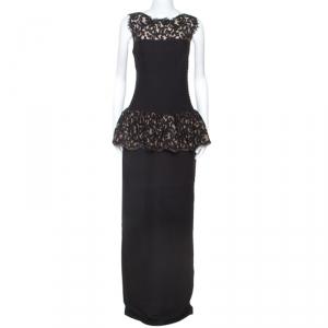 Tadashi Shoji Black Pintuck Lace Peplum Gown M