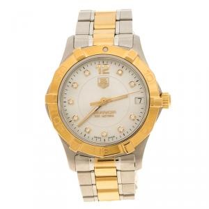 Tag Heuer Mother of Pearl 18K Yellow Gold Plated And Stainless Steel Aquaracer Women's Wristwatch 34 mm