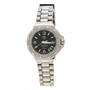 Tag Heuer Black Stainless Steel Diamonds Formula 1 WAC1214-0 Women's Wristwatch 37 mm