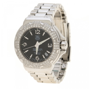 Tag Heuer Black Stainless Steel Diamond Formula 1 WAC1214-0 Women's Wristwatch 35 mm