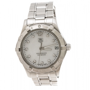 Tag Heuer Mother of Pearl Stainless Steel Diamond Aquaracer WAF1312.BA0817 Women's Wristwatch 33 mm