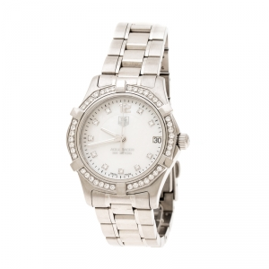 Tag Heuer White Mother of Pearl Diamonds Aquaracer WAF1313 Women's Wristwatch 33 mm