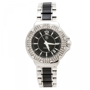 Tag Heuer Black Ceramic Stainless Steel Diamonds Formula 1 Women's Wristwatch 37 mm