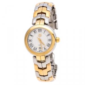 ساعة يد نسائية تاغ هيوير لينك WAT1452.BB0955 ستانلس ستيل ثنائي اللون فضية و بيضاء 29 مم