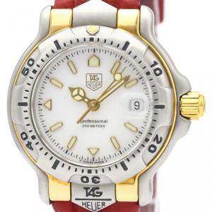 Tag Heuer White Gold Plated Stainless Steel 6000 Series Quartz Wh1351 Women's Wristwatch 29 MM
