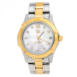 Tag Heuer Mother Of Pearl Two-Tone Stainless Steel Diamond Aquaracer WAF1320 Women's Wristwatch 32 mm