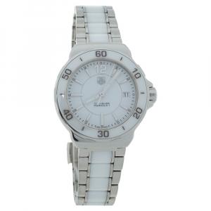 Tag Heuer White Ceramic Stainless Steel Formula 1 WAH1211 Women's Wristwatch 34 mm