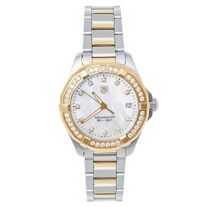 Tag Heuer MOP 18K Yellow Gold & Stainless Steel Diamonds Aquaracer WAY1353.BD0917 Women's Wristwatch 32 mm