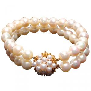 Tasaki White 18K Yellow Gold Pearl Double Bracelet