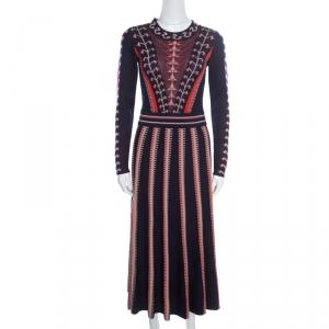 Temperley By London Indigo Jacquard Ida Knit Flared Dress S