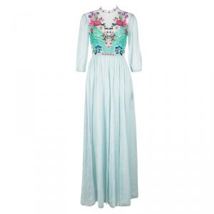 Temperley London Grey Floral Embroidered Lace Detail Aura  Dress S