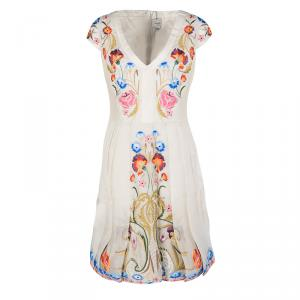 Temperley London Beige Toledo Embroidered V- Neck Silk Pleated Dress L