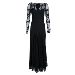 Temperley London Black Embroidered Tulle Long Sleeve Francine Gown M