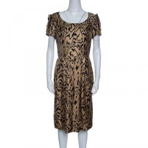 Temperley London Brown and Black Printed Silk Short Sleeve Dress M - used