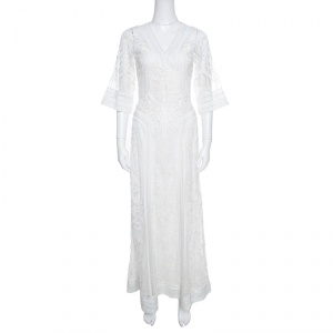 Temperley London Off White Tonal Embroidered Tulle Bertie Gown S - used